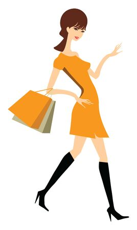 A tall lady in an orange dress and black shoes carrying two paper bags, vector, color drawing or illustration. Çizim