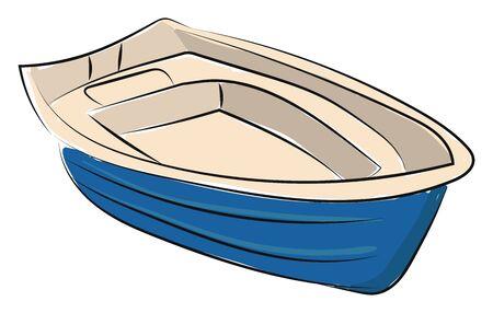 A big emoting blue boat, vector, color drawing or illustration.