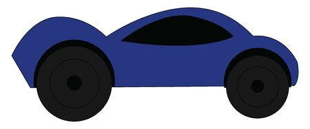 A blue car with black tires, vector, color drawing or illustration. Vettoriali