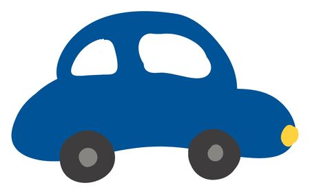 A blue color car, with two small wheels, with yellow light, vector, color drawing or illustration.