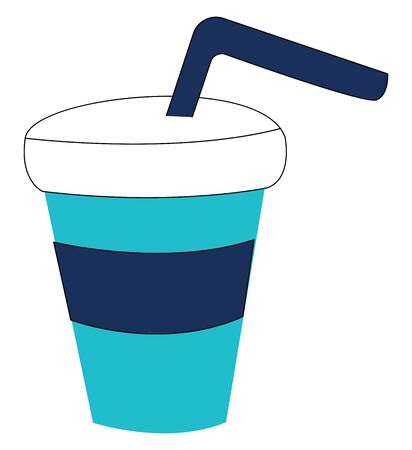 A blue drinking glass with straw, with white cover, vector, color drawing or illustration. Illusztráció