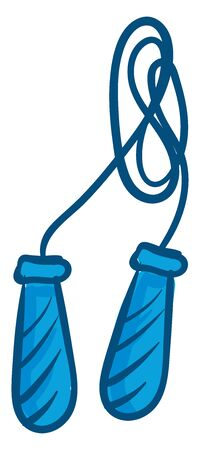 Blue bunched up skipping rope, vector, color drawing or illustration.