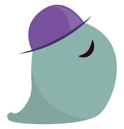 Blue slug monster with purple hat and no eyes, vector, color drawing or illustration. Illustration