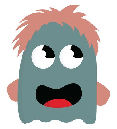 A blue monster with brown hair and open mouth, vector, color drawing or illustration.