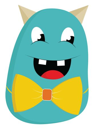 Blue monster with yellow bow tie and two teeth sticking out, vector, color drawing or illustration. Illustration