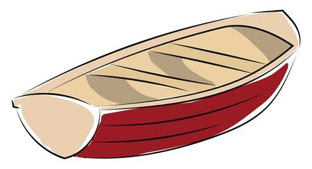 Red boat, vector, color drawing or illustration.
