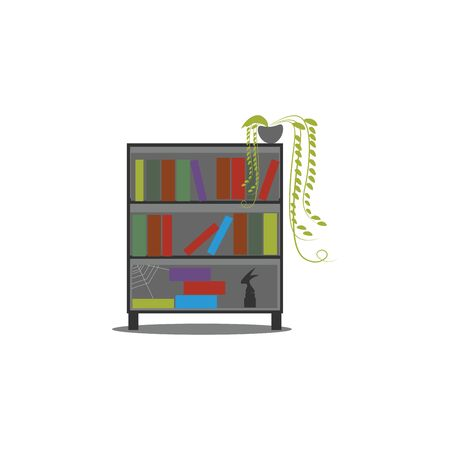 Old bookshelf with green plant on top of it, vector, color drawing or illustration.