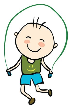 Young kid in a green shirt skipping rope, vector, color drawing or illustration. Ilustrace