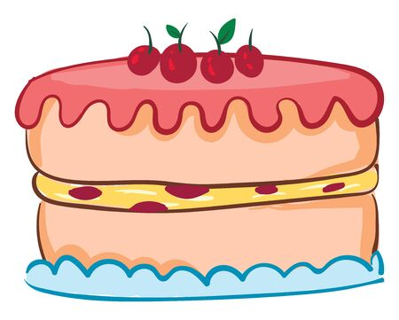 Drawing of a round cake with pink frosting on top and cherries, with yellow and red filling on a blue tray., vector, color drawing or illustration. Ilustração