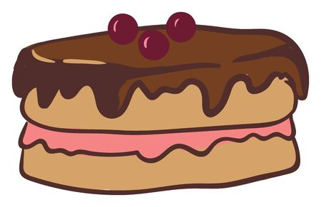A drawing of a round cake with dark brown top frostings, white and pink fillings and berries on top., vector, color drawing or illustration.
