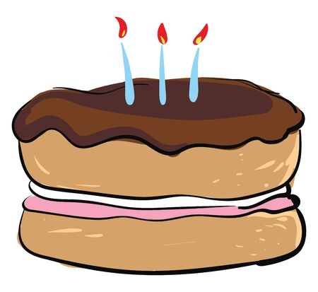 A drawing of a round cake with dark brown top frostings, white and pink fillings and three blue lit candles on top, vector, color drawing or illustration.