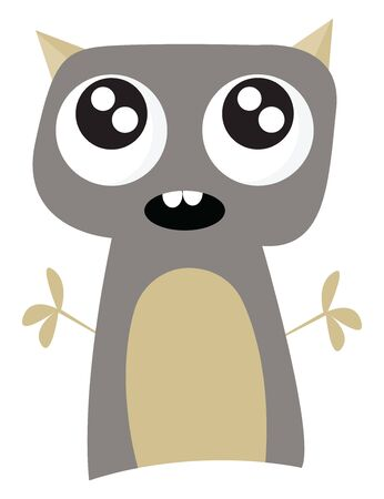 A gray monster with cute eyes and short arms and horns, vector, color drawing or illustration.