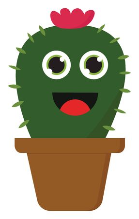 A green prickly cactus with a red flower on top smiling, vector, color drawing or illustration. 向量圖像