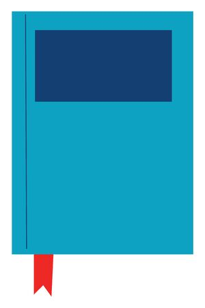 Closed blue book with a red bookmark, vector, color drawing or illustration. Ilustrace