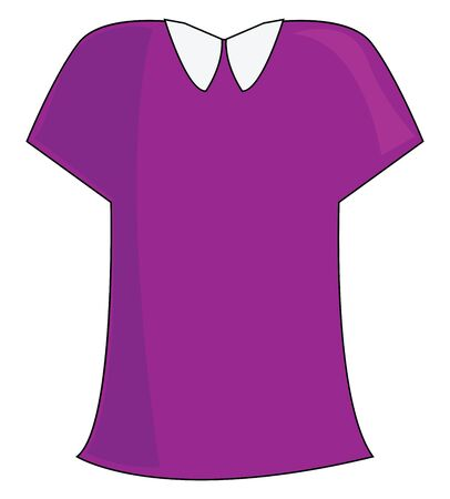 A purple blouse with white collar, vector, color drawing or illustration. Ilustrace