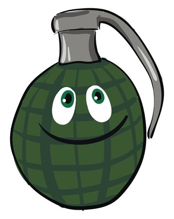 Face of a happy grenade, smiling, with big eyes, vector, color drawing or illustration.