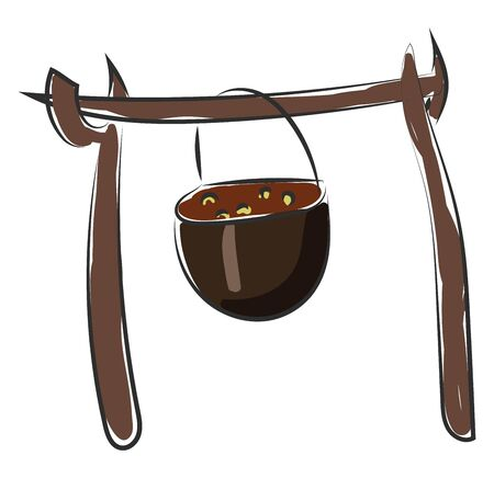 Brown cooking pot hanging on a stick, vector, color drawing or illustration.