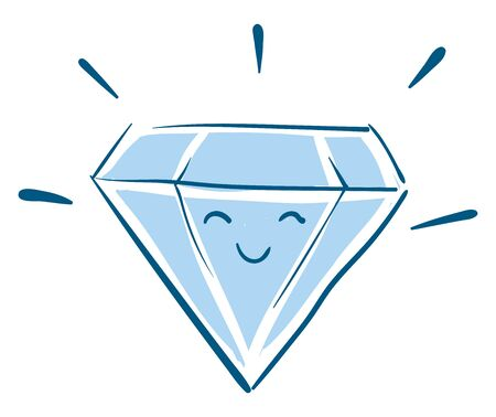 Face of a happy diamond, shining bright, vector, color drawing or illustration. 向量圖像