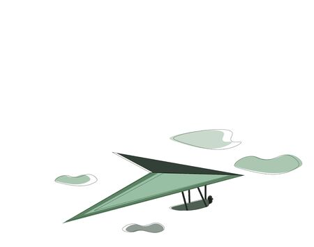 A green hang-glider with wing in the sky flying, vector, color drawing or illustration. Ilustracja
