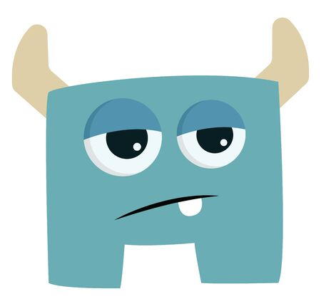 Blue tired monster with horns, vector, color drawing or illustration.