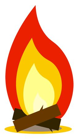 An illustration of a perfectly burning bonfire, vector, color drawing or illustration.