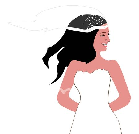 Happy bride in her white wedding dress and her vail, vector, color drawing or illustration.