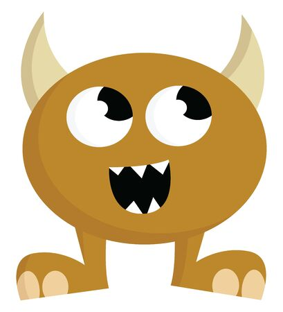 A happy brown monster with horns, vector, color drawing or illustration.