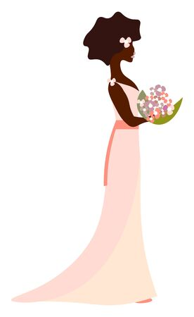 Bride with her wedding bouquet in her pink dress, vector, color drawing or illustration.