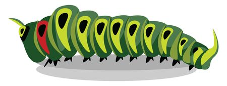 A picture of a green caterpillar, vector, color drawing or illustration.