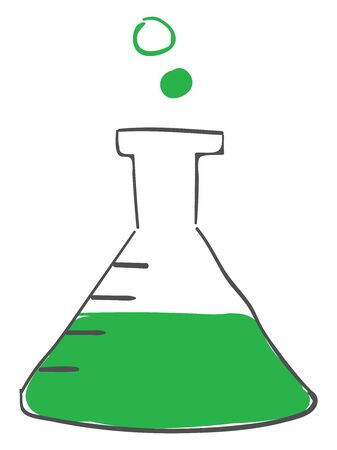 A batch of chemical solution in a clear flask, vector, color drawing or illustration.