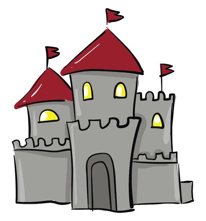 Gray castle with three towers and four lit windows, vector, color drawing or illustration.