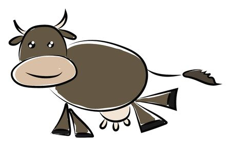 A brown cow with milk, with horns, vector, color drawing or illustration. Stockfoto - 132735176