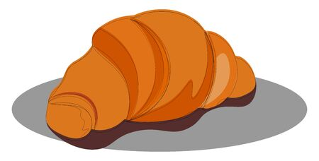 A croissant on top of a gray plate, vector, color drawing or illustration.
