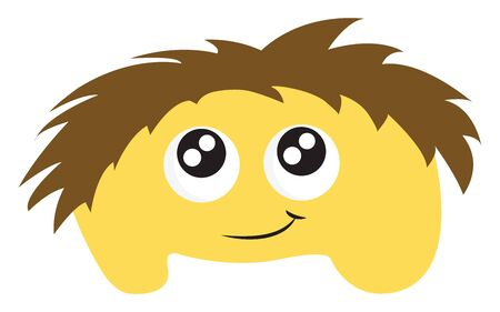A cute yellow monster with cute eyes and messy brown hair, vector, color drawing or illustration.