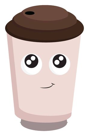 A pink coffee cup with a face, big eyes, smiling lips, with brown lid, with straw hole, vector, color drawing or illustration.