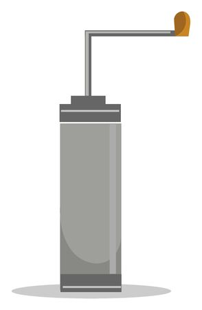 A gray coffee grinder with metal rod, vector, color drawing or illustration. Illusztráció