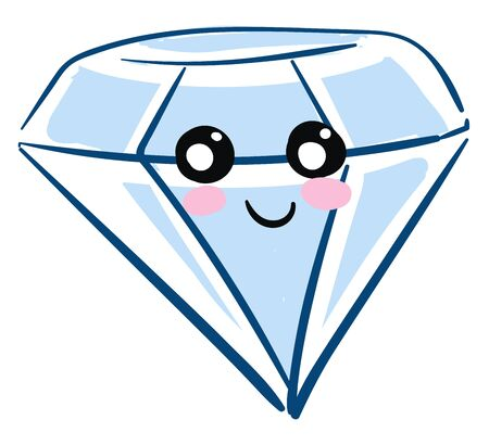 A blue diamond with a smiling face, black and white eyes, pink cheeks and black lip., vector, color drawing or illustration.