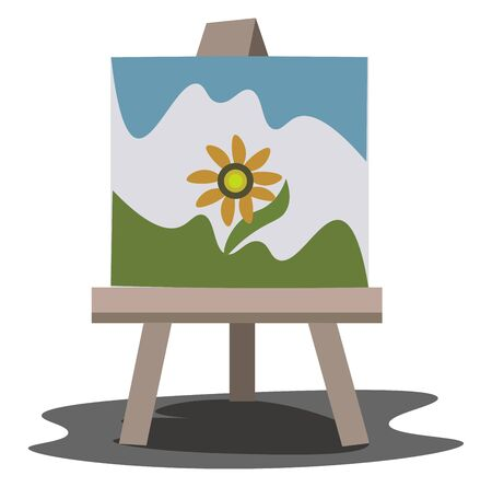 A light brown easel with a beautiful painting of an orange flower, vector, color drawing or illustration. Vectores