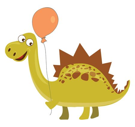 Yellow spinosaurus with brown spikes holing an orange balloon., vector, color drawing or illustration.
