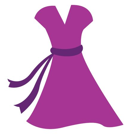 A long pink dress, vector, color drawing or illustration.