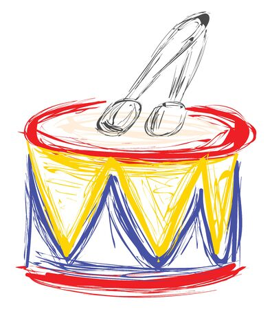 Colorful drum with two sticks on top of it., vector, color drawing or illustration.