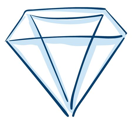 A blue diamond outlined with both dark and light blue, vector, color drawing or illustration. 向量圖像