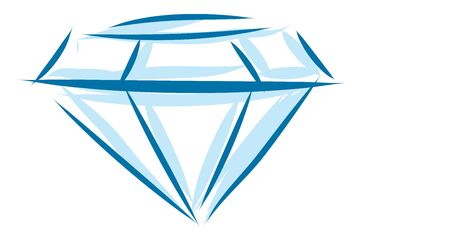 A 3D blue diamond outlined with both dark and light blue, vector, color drawing or illustration.