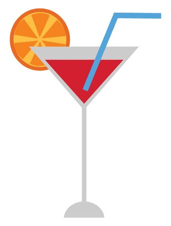 A tall glass with red juice and a blue straw and an orange slice, vector, color drawing or illustration. Illusztráció