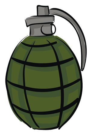 A green grenade with pin, vector, color drawing or illustration. Illustration
