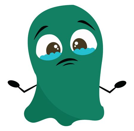 Green sad monster with two big eyes, with tears, with two hands, vector, color drawing or illustration. 일러스트
