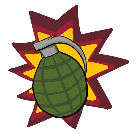 A grenade explosion with red and yellow effects, vector, color drawing or illustration.