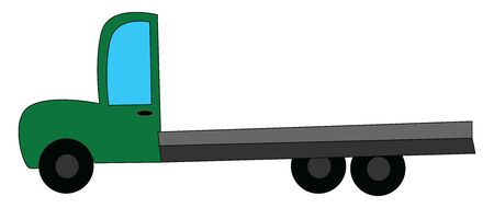 A green truck with three tires, with long haul, vector, color drawing or illustration.