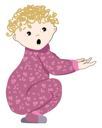 A cute baby wearing his magenta pajamas begging, vector, color drawing or illustration. Illustration