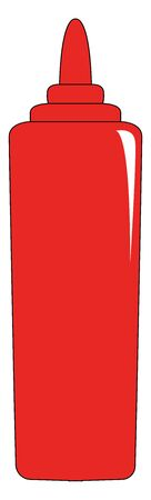 A red ketchup bottle, vector, color drawing or illustration.